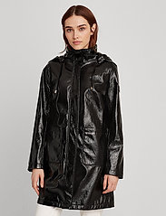 Lauren Ralph Lauren - Hooded Slicker Coat - regnjakker - black - 0