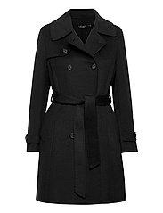 Wool-Blend Trench Coat - BLACK