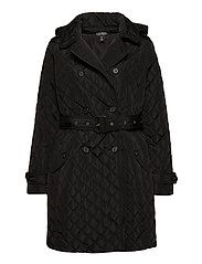 Quilted Trench Coat - BLACK