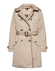 Quilted Trench Coat - TAUPE