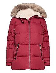 Hooded Down Coat - CHILI