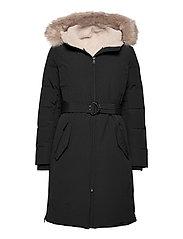 Belted Hooded Down Coat - BLACK