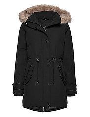 Hooded Parka Coat - BLACK