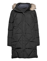 Quilted Hooded Down Coat - BLACK