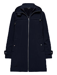 Hooded Quilted-Bib Jacket - NAVY