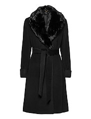Wool-Blend Wrap Coat - BLACK