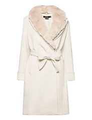Wool-Blend Wrap Coat - CREAM