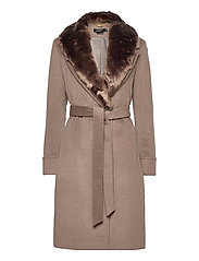 Wool-Blend Wrap Coat - MELANGE TAUPE