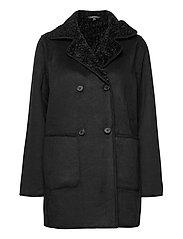 Reversible Faux-Suede Coat - BLACK
