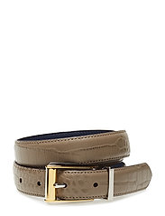 Reversible Croc-Embossed Belt - TAUPE/NAVY