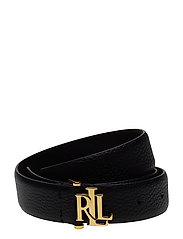 Pebbled Leather Skinny Belt - BLACK