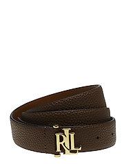 Pebbled Leather Skinny Belt - FIELD BROWN
