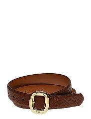 Pebbled Faux-Leather Belt - BOURBON