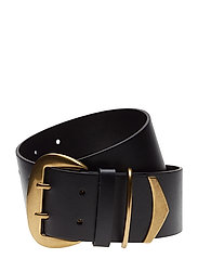 Double-Prong Faux-Leather Belt - BLACK