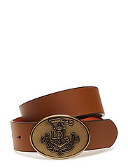 Anchor Reversible Leather Belt - LAUREN TAN/ORANGE