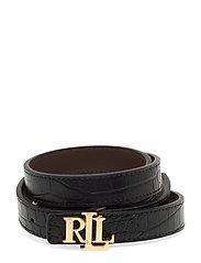 Reversible Leather Belt - BLACK/DARK BROWN