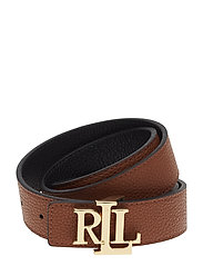 Logo Leather Belt - BLACK/LAUREN TAN