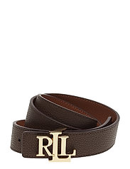 Logo Leather Belt - LAUREN TAN/DARK B