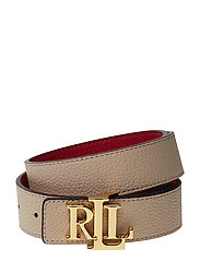 Logo Leather Belt - LIGHT SAND/RED
