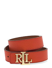 Logo Leather Belt - PUMPKIN/LAUREN TA