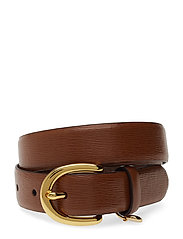 Charm Saffiano Leather Belt - LAUREN TAN
