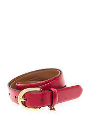 Charm Saffiano Leather Belt - RED