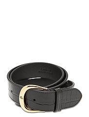 Crocodile-Embossed Leather Belt - BLACK