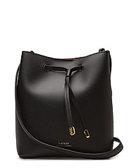 Leather Debby II Mini Drawstring Bag - BLACK/CRIMSON