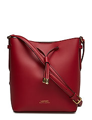 Leather Debby II Mini Drawstring Bag - CRIMSON/TRUFFLE