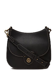 Pebbled Leather Crossbody Bag - BLACK