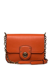 Pebbled Leather Crossbody Bag - BURNT ORANGE
