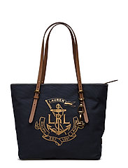 LRL Medium Canvas Tote - NAVY W/ GOLD LOGO