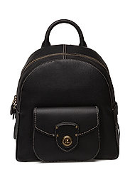 Leather Medium Backpack - BLACK