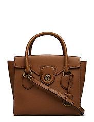 Pebbled Leather Medium Satchel - LAUREN TAN TONAL
