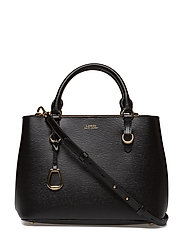 Saffiano Leather Satchel - BLACK/TRUFFLE