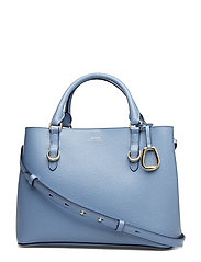 Saffiano Leather Satchel - BLUE MIST/NAVY