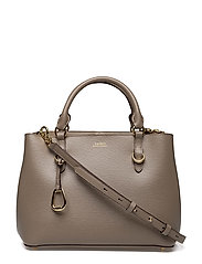 Leather Medium Satchel - TAUPE/PORCINI