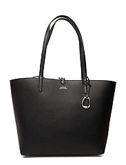 Reversible Faux Leather Tote - BLACK/PRINCE OF W