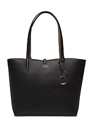 Faux Leather Tote - BLACK/TAUPE