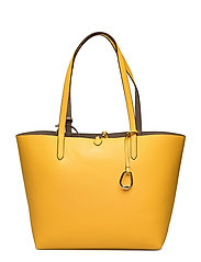 Faux Leather Tote - SUNFLOWER/TAUPE