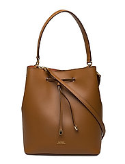 Leather Debby Drawstring Bag - FIELD BROWN/ORANG