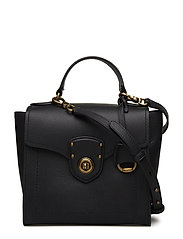 Pebbled Leather Crossbody Satchel Bag - BLACK TONAL