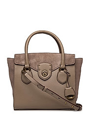 SUEDE/PEBBLE-SATCHEL-STL-MED - TAUPE