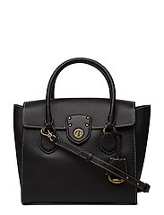 Large Leather Crossbody Bag - BLACK