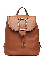 Pebbled Leather Backpack - LAUREN TAN