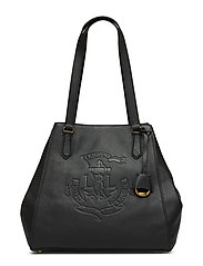 Anchor Leather Tote - BLACK