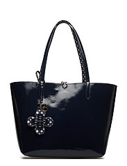 Reversible Faux-Leather Tote - NAVY/MIXED GEO