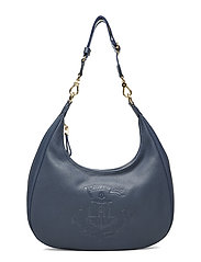 Pebbled Leather Hobo Bag - NAVY