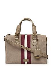 Suede Duffel Bag - TAUPE W/ MERLOT/V