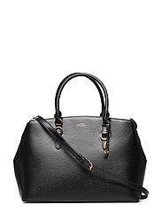 Leather Double-Zip Satchel - BLACK